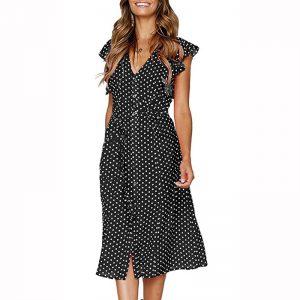 Retro Butterfly Sleeve Polka Dot Dress - Black - Front - Model