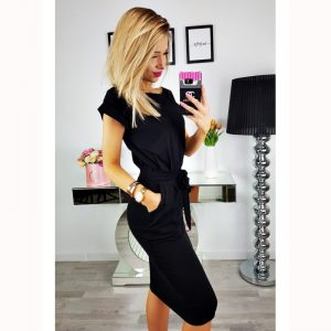 Short Sleeve Boat Neck Casual Pencil Dress - Black - Side - Model