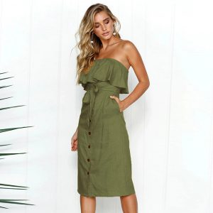 Strapless Summer Safari Dress - Army Green - Front - Model