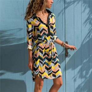 Chevron Long Sleeve Tunic Dress - Front - Model