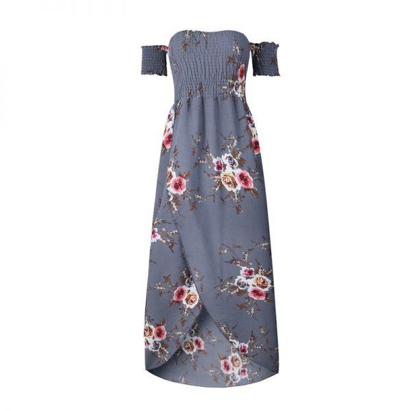 Floral Boho Off Shoulder Summer Maxi Dress - Gray - Front