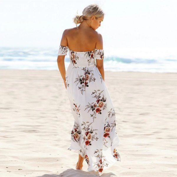 Floral Boho Off Shoulder Summer Maxi Dress - White - Back - Model
