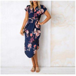 Floral Print Short Sleeve Round Neck Summer Dress - Navy - Front - Model