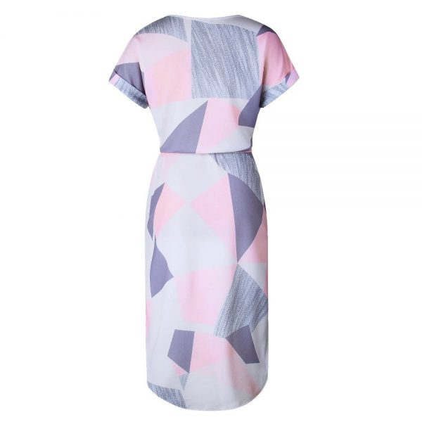 Geometric Print Short Sleeve Round Neck Summer Dress - Pink and Grey Abstract - Back