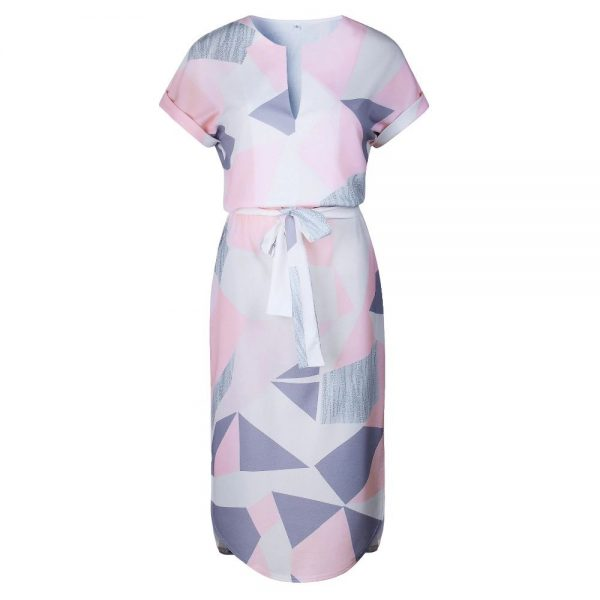Geometric Print Short Sleeve Round Neck Summer Dress - Pink and Grey Abstract - Front