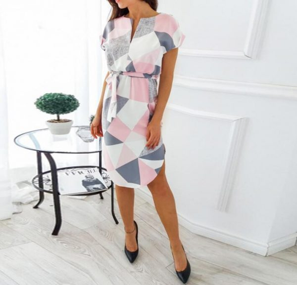 Geometric Print Short Sleeve Round Neck Summer Dress - Pink and Grey Abstract - Front - Model