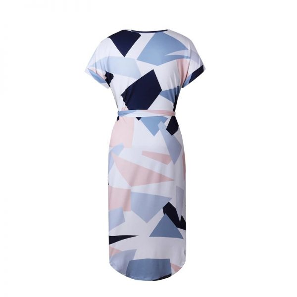 Geometric Print Short Sleeve Round Neck Summer Dress - Pink and Navy Abstract - Back
