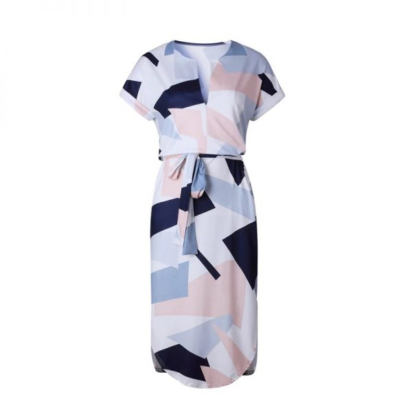 Geometric Print Short Sleeve Round Neck Summer Dress - Pink and Navy Abstract - Front