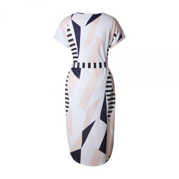 Geometric Print Short Sleeve Round Neck Summer Dress - Pink and Navy Lines - Back