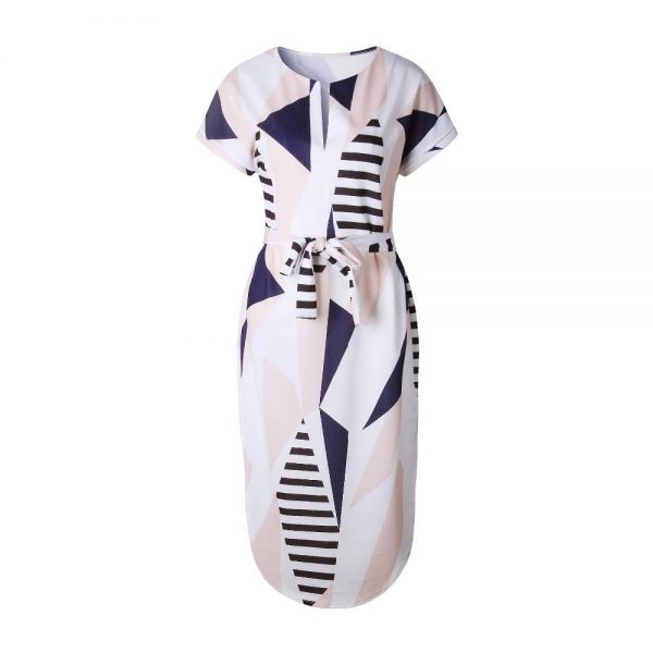 Geometric Print Short Sleeve Round Neck Summer Dress - Pink and Navy Lines - Front