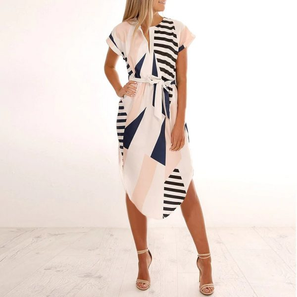 Geometric Print Short Sleeve Round Neck Summer Dress - Pink and Navy Lines - Front - Model
