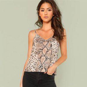 Snake Skin Print Cami Top - Front - Model